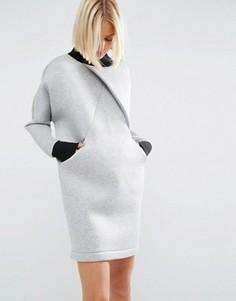 Платье-футболка с перекрестной отделкой спереди ASOS WHITE - Серый
