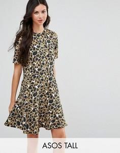 Платье с заниженной талией и животным принтом ASOS TALL - Мульти
