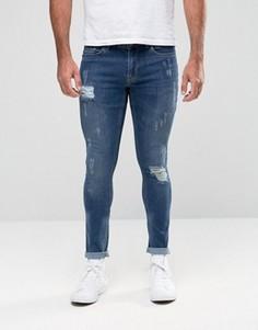 Потертые джинсы с напылением Hoxton Denim - Синий