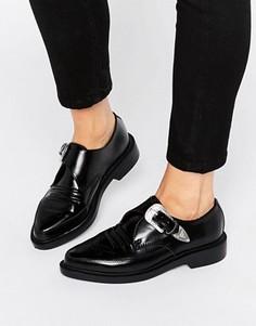 Кожаные туфли в стиле вестерн с острым носком T.U.K. - Черный TUK