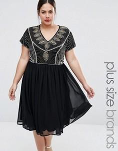 Приталенное платье с отделкой на лифе Lovedrobe Plus - Черный