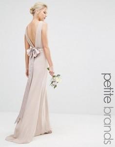 Свадебное платье макси с сатиновым бантом сзади TFNC Petite - Розовый
