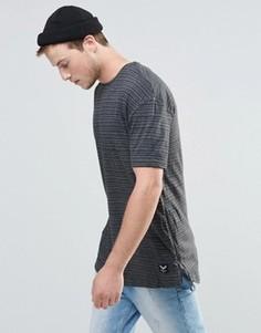 Удлиненная футболка в тонкую полоску Brave Soul - Серый