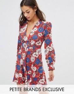 Короткое приталенное платье с глубоким вырезом Glamorous Petite - Мульти