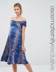 Приталенное платье миди для беременных с открытыми плечами и винтажным цветочным принтом ASOS Maternity - Мульти