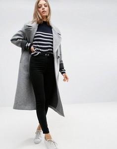 Пальто-кокон с контрастными манжетами ASOS - Серый