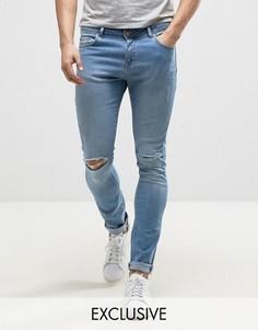 Супероблегающие голубые джинсы с потертостями Brooklyn Supply Co - Синий