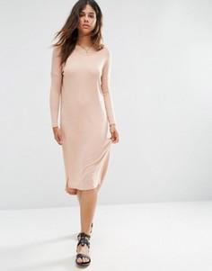 Свободное платье-футболка в мелкий рубчик ASOS - Розовый