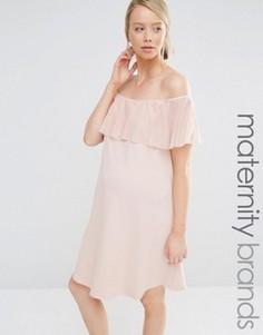 Облегающее платье для беременных с рюшами Bluebelle Maternity - Розовый