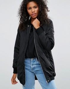 Черная удлиненная куртка‑пилот Brave Soul - Черный