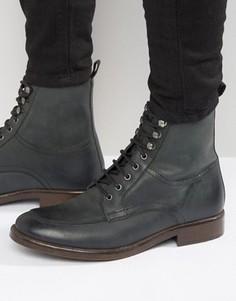 Черные кожаные ботинки на темной подошве со шнуровкой ASOS - Черный