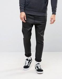 Черные джинсы с покрытием и заниженным шаговым швом ASOS - Черный