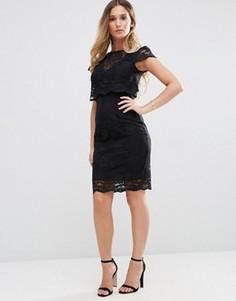 Кружевное платье-футляр миди Jessica Wright - Черный