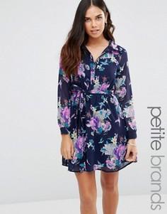 Короткое приталенное платье‑рубашка с цветочным принтом Yumi Petite - Темно-синий