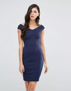 Платье-футляр с широким вырезом Lipstick Boutique - Темно-синий