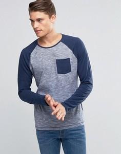 Лонгслив с контрастными рукавами реглан и карманом Esprit - Темно-синий