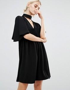 Свободное платье с высоким воротом Lost Ink - Черный