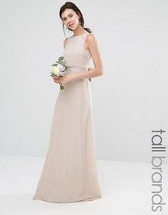 Платье макси с атласным бантом сзади TFNC Tall Wedding - Розовый