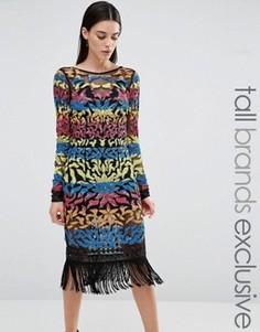 Платье мини с длинными рукавами и отделкой пайетками Maya Tall - Мульти