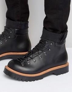 Изготовленные в Англии черные кожаные походные ботинки ASOS - Черный