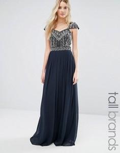 Платье макси с декорированными рукавами и лифом Maya Tall Wedding - Темно-синий