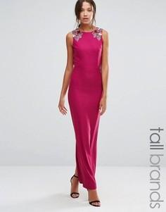 Платье макси без рукавов с цветочной отделкой на плечах Little Mistress Tall - Розовый