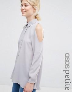 Блузка с открытыми плечами ASOS PETITE - Серебряный