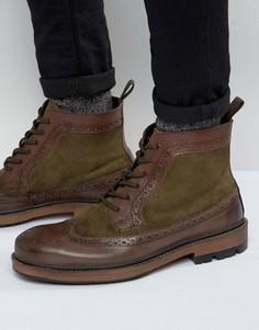 Коричневые кожаные ботинки-броги Frank Wright - Коричневый