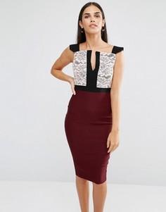 Платье-футляр с кружевом на лифе и разрезом Vesper - Красный