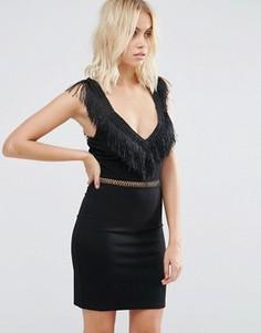 Платье с бахромой на горловине и талии Goldie Last Dance - Черный