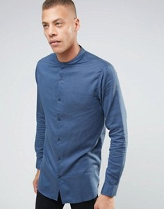Удлиненная рубашка с воротником на пуговицах ADPT - Темно-синий