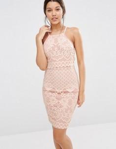 Двухслойное кружевное платье на бретельках Missguided - Розовый