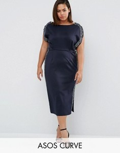 Платье миди с декоративной отделкой ASOS CURVE - Темно-синий