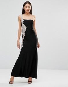 Платье макси с ажурным кружевом сбоку AX Paris - Черный