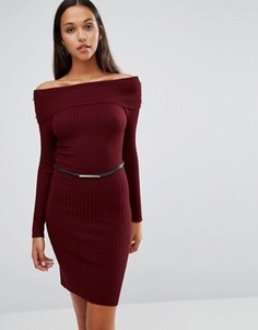 Платье миди с широким вырезом и ремнем Michelle Keegan Loves Lipsy - Красный
