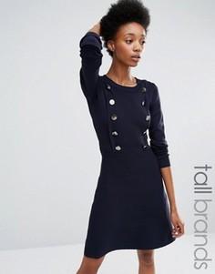 Трикотажное короткое приталенное платье с пуговицами Y.A.S Tall Elina - Темно-синий