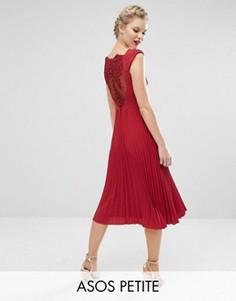 Платье миди с плиссировкой и кружевом на спине ASOS PETITE WEDDING - Красный