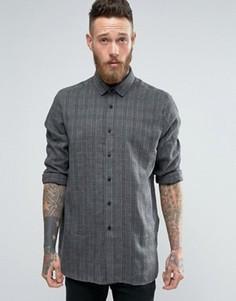 Oversize-рубашка в клетку с заниженной линией плеч ASOS - Серый