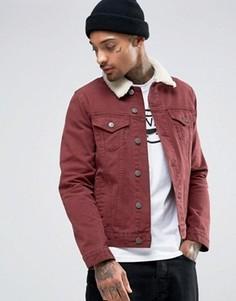 Бордовая джинсовая куртка слим с меховым воротником ASOS - Красный