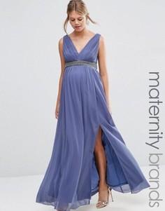 Платье макси для беременных с глубоким декольте и отделкой на талии Little Mistress Maternity - Серый