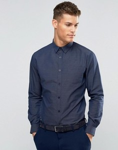Темно-синяя рубашка в строгом стиле из ткани добби Sliver Eight - Темно-синий