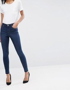 Темные джинсы скинни с необработанным краем ASOS RIDLEY - Синий