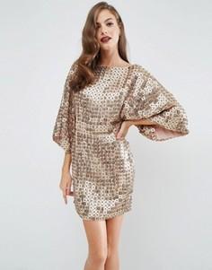 Платье мини в стиле кимоно с пайетками ASOS RED CARPET - Золотой