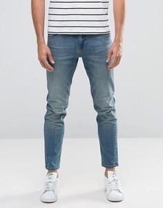 Эластичные укороченные джинсы слим плотностью 12,5 унций ASOS - Синий