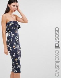 Темно-синее платье-бандо с цветочным принтом и рюшами ASOS TALL - Темно-синий