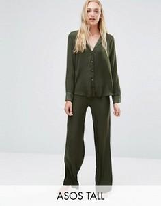 Пижамный комплект из атласных жаккардовых рубашки и широких брюк в горошек ASOS TALL Newton - Зеленый
