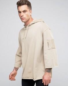 Длинный oversize-свитшот с карманом MA1 и рукавами 3/4 ASOS - Бежевый