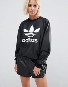 Свитшот из искусственной кожи с логотипом‑трилистником adidas Originals - Черный