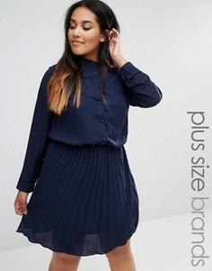 Короткое приталенное платье с плиссированной юбкой Praslin Plus - Темно-синий