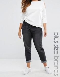 Джинсы в винтажном стиле с высокой талией и отворотами Boohoo Plus - Черный